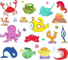 Ocean inhabitants and submarine. Octopus, jellyfish, starfish, s