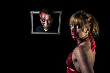 Halloween Two-Face Zipper Face in a photo frame. Beautiful sexy and terrifying zipper girl dressed up