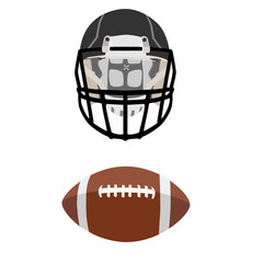American football ball and helmet