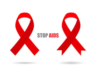 Red ribbons with shadow different stylish illustration of Stop AIDS