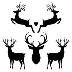 Set of Christmas Deers – Vector Silhouette