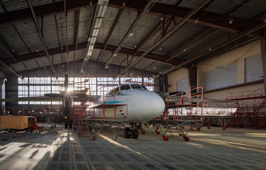 Wall Mural - Aircraft stands on repair in aviation hangar