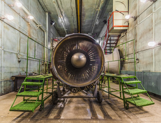 Wall Mural - Turbojet of aircraft in move