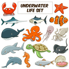 Cartoon underwater animals set vector