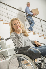 Disabled woman at home