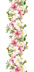 Floral seamless watercolor frame border with pink and white flowers. Aquarel