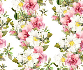 Seamless floral pattern with watercolor pink and white flowers. Aquarel background