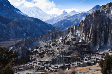 Foto auf Acrylglas Nepal Himalaya mountains in Nepal, view of small village Braga on Annapurna circuit