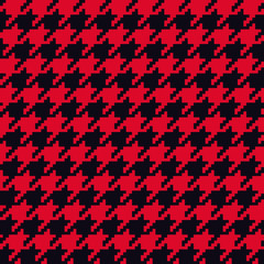 Seamless red and black classical retro pixel houndstooth pattern vector