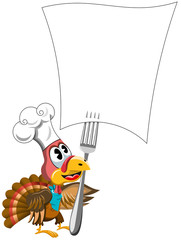Cartoon Thanksgiving Turkey with cook hat looking at forked blank recipe paper isolated