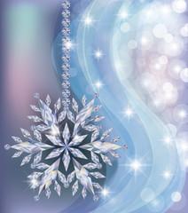 Elegant frozen  wallpaper with diamond snowflake