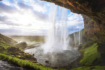 Wall Murals Waterfalls beautiful waterfall at sunset
