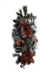 Holiday Wood Branch Ribbon Pine Decoration
