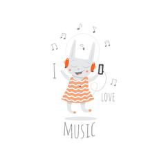 Children's postcard with cartoon little rabbit  listening to music in earphones. Vector image.