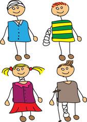 Set of vector doodle injured kids with bandages.