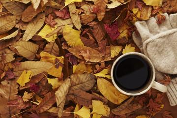 ホットコーヒーと枯葉と手袋
