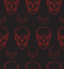 Seamless pattern with hand-drawn red skull for your design