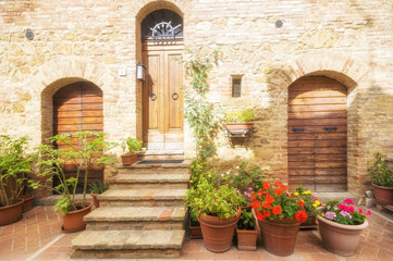 street of medieval Pienza town in Tuscany. Italy
