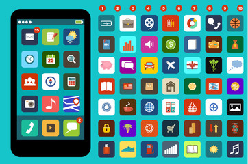 Smartphone with colorful application icons
