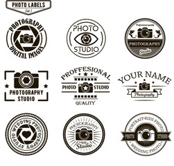 Vector set of photography logo templates. Photo studio logotypes and design elements