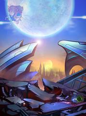 Illustration: The Imaginary Atlantics City - A broken future city - Scifi Topic