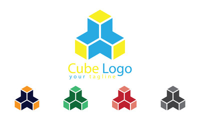 Cube Logo Vector With Five Color Options