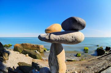 Pebbles on stony coast