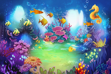 Illustration: The Secret Underwater Garden with Sea Horse and Fish. It's a lovely place for lovers or friends meet. - Scene Design