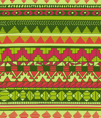 Hand drawn abstract aztec geometric seamless colorful pattern