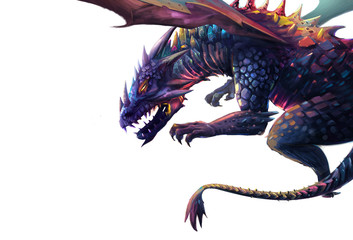 Illustration: The Dragon - Put it in a White Background in case you need it. - Character Design. Fantastic Style