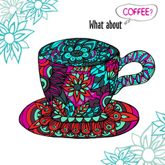 Colorful illustration with a Cup of coffee and blue ornament