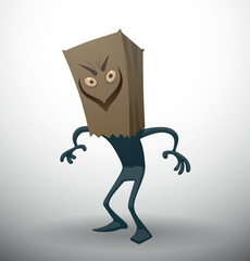 Vector Anonymous, with a sinister smile. Cartoon image of someone dark gray color with a sinister smile paper bag on his head on a light background.