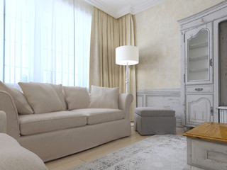 Provence interior with sofa and a large window