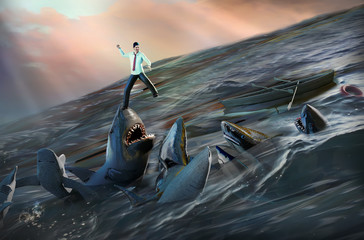 Businessman in the sea in the midst of predatory sharks as a risk to world's business elite