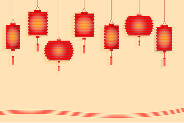 Chinese lantern paper style design for mid autumn festival