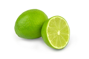 Juicy lime on white background