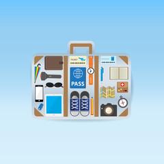 travel icon setting in luggage shape on blue background