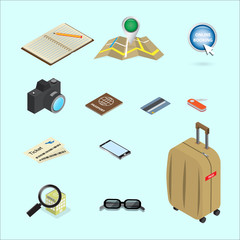 travel icon isometric concept design