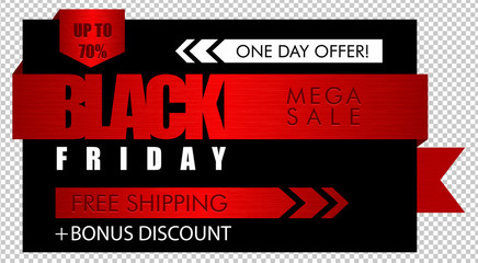 Red brushed metal black Friday sale banner