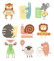 Cute Animals with Ribbons and Boards for Text. Vector Flat Illustration