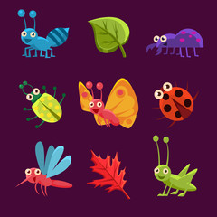 Cute Insects and Leaves with Emotions. Vector Illustration Collection