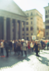 Blurred crowd of walking people near Pantheon, Rome