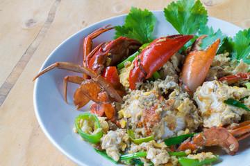 Crab fried egg, chicken.