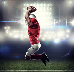 Composite image of american football player jumping