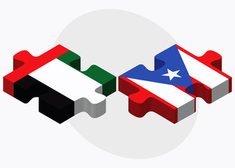 United Arab Emirates and Puerto Rico Flags