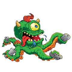 Vector illustration of monster cartoon