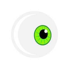 Halloween eyeball vector symbol. Green pupil eye illustration isolated on white background.