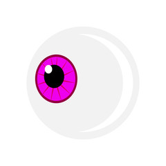 Halloween eyeball vector symbol. Purple pupil eye illustration isolated on white background.