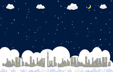 街並み 雪の夜
