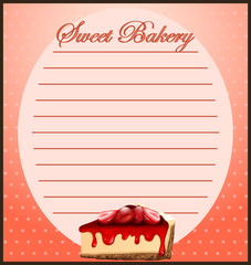 Line paper with strawberry cheesecake